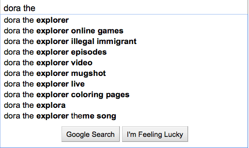 Dora the Explorer, Dora the explorer illegal immigration, Google Searchs for Dora the Explorer, Dora the Explorer