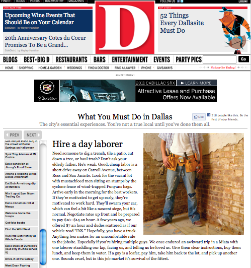 Dallas Magazine Day Laborer