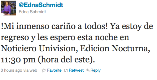 Edna Schmidt is back at the Univision Anchor Desk