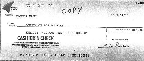 anonymous 10K check for Los Angeles County