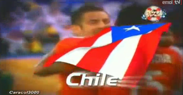 America television network in Peru uses Puerto Rican flag instead of Chilean flag
