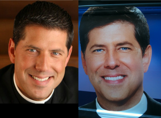 Father Albert Eye Color Photoshopped in Talk Show Ads
