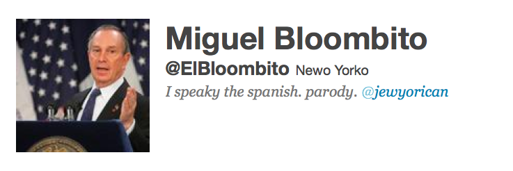 Mayor Michael  Bloomberg ElBloombito Twitter Account