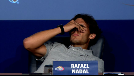 Rafael Nadal US OPEN Collapses Spanish Press Conference
