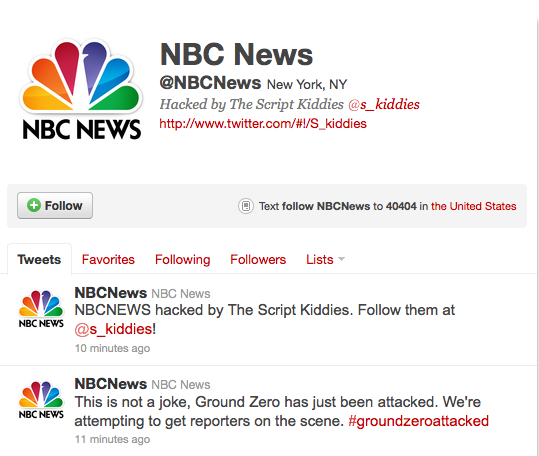 NBC News Twitter Feed Hacked; Posts Fake Ground Zero Plane Crash Messages