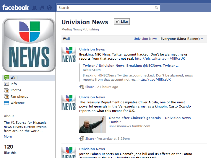 Univision News English-language Facebook