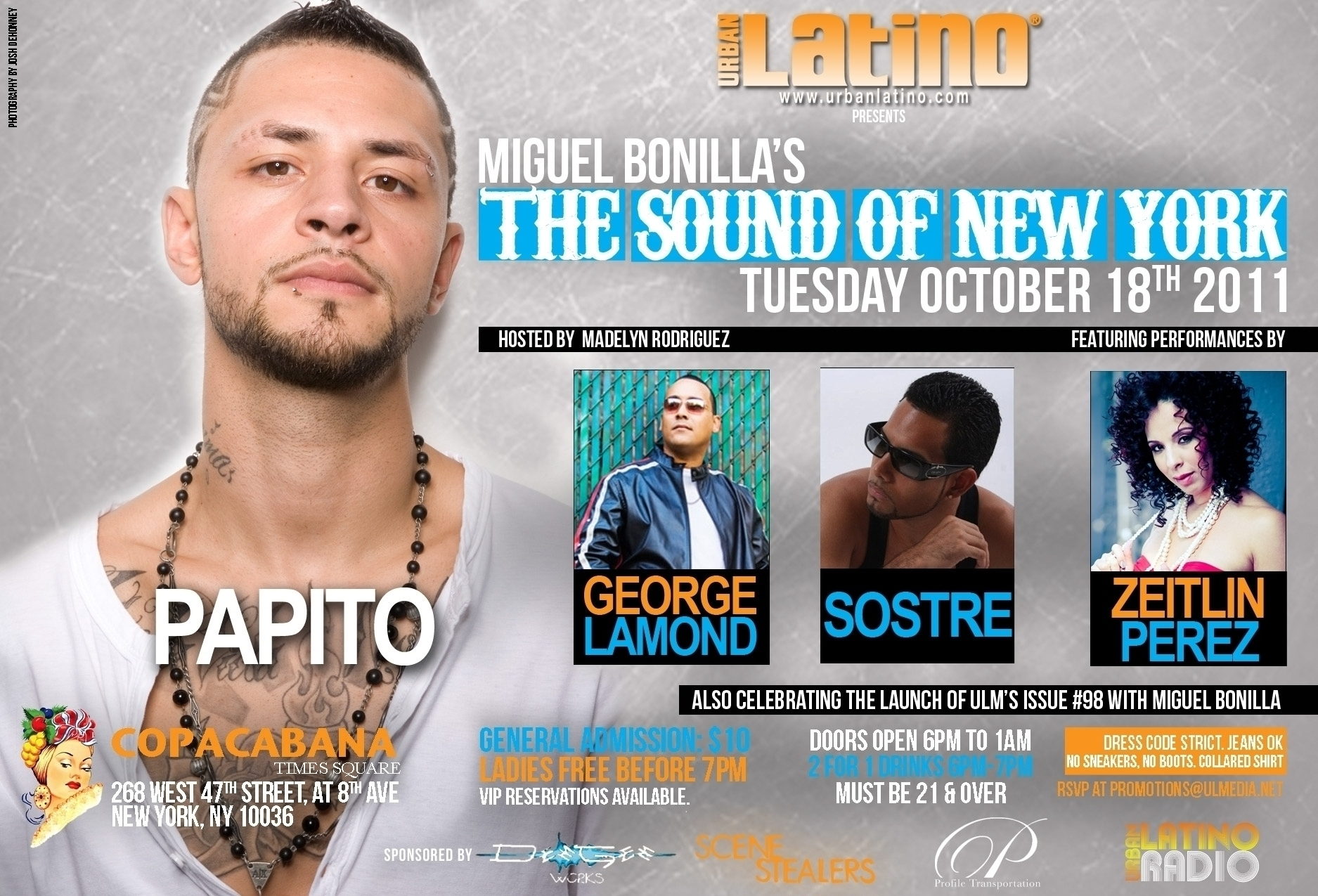 Papito Performs at Copacabana in NYC Tonight