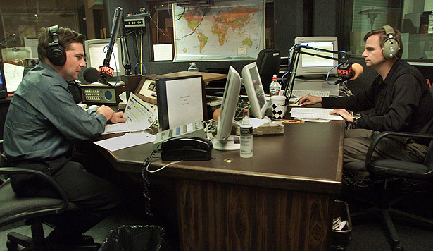 John Kobylt, left, and Ken Chiampou host their afternoon talk show on KFI-AM. Credit: Los Angeles Times