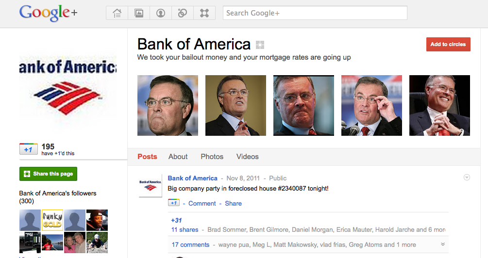 Parody Bank of America Google + Page Launched