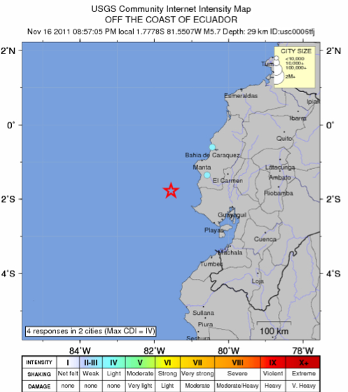 5.7 Earthquake Ecuador Coast
