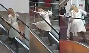 WorldView Video: Blonde Goes Wrong Way on Escalator