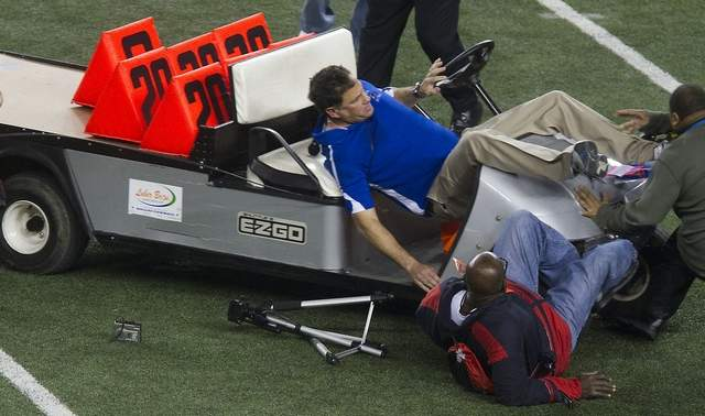 WorldView Video: Golf Cart Plows Into Coaches And Reporters at Cowboy Stadium