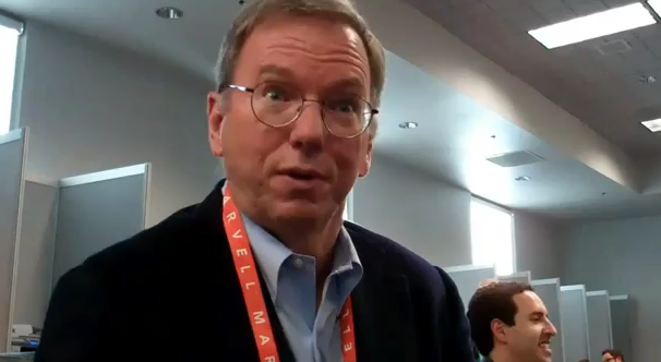 Google's Eric Schmidt. Photo: YouTube.