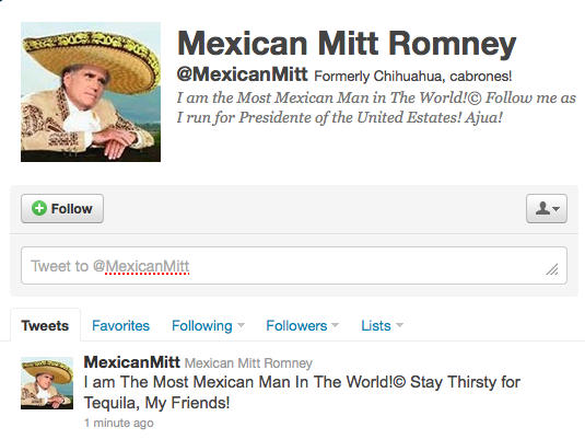 Mexican Mitt Romney Parody Twitter Account Launches