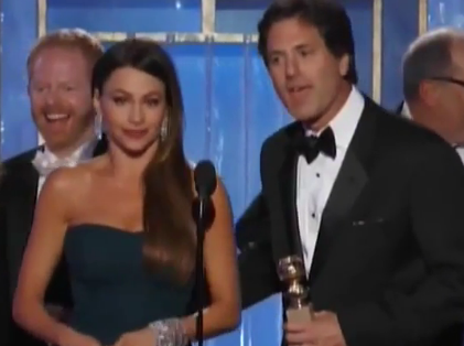 WorldView Video: Sofía Vergara & Steven Levitan's Modern Family Acceptance Speech for Best TV Comedy Golden Globes 2012
