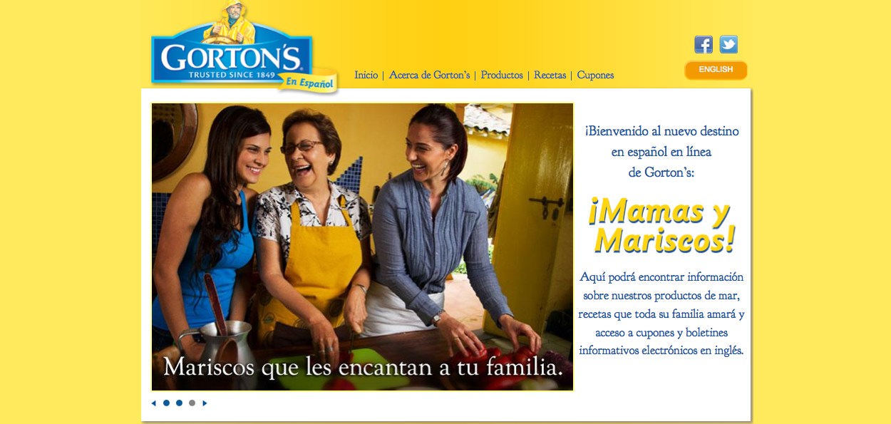 Gorton's Seafood Spanish-language Website Misses Accent and Now in the Breast Business
