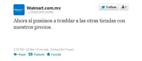 Screen shot 2012 03 20 at 10.23.48 PM Walmart Mexicos Earthquake Tweet Sparks Online Outrage