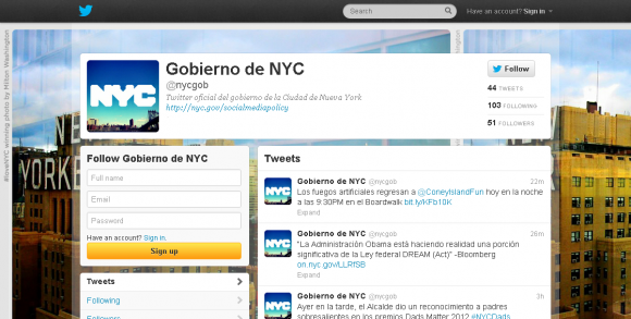 Gobierno de NYC nycgob on Twitter 580x293 custom New York City Launches Spanish Language Twitter Account