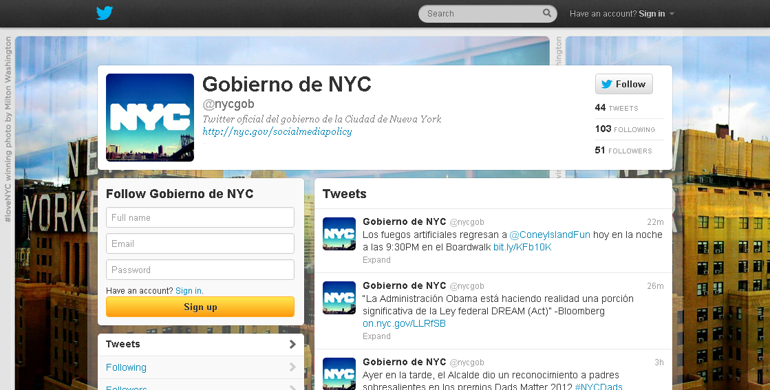 New York City Launches Spanish-Language Twitter Account
