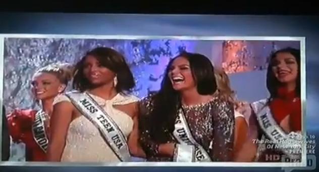 Miss Universe, Ximena Navarrete, of Mexico, reacts to Andy Cohen misprouncing her name