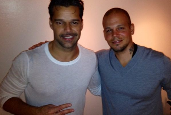 Photo: Calle 13′s René backstage at Evita with Ricky Martin