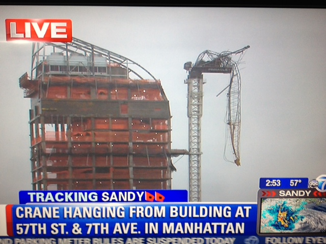 NYC Crane Dangling as Hurricane Sandy Approaches