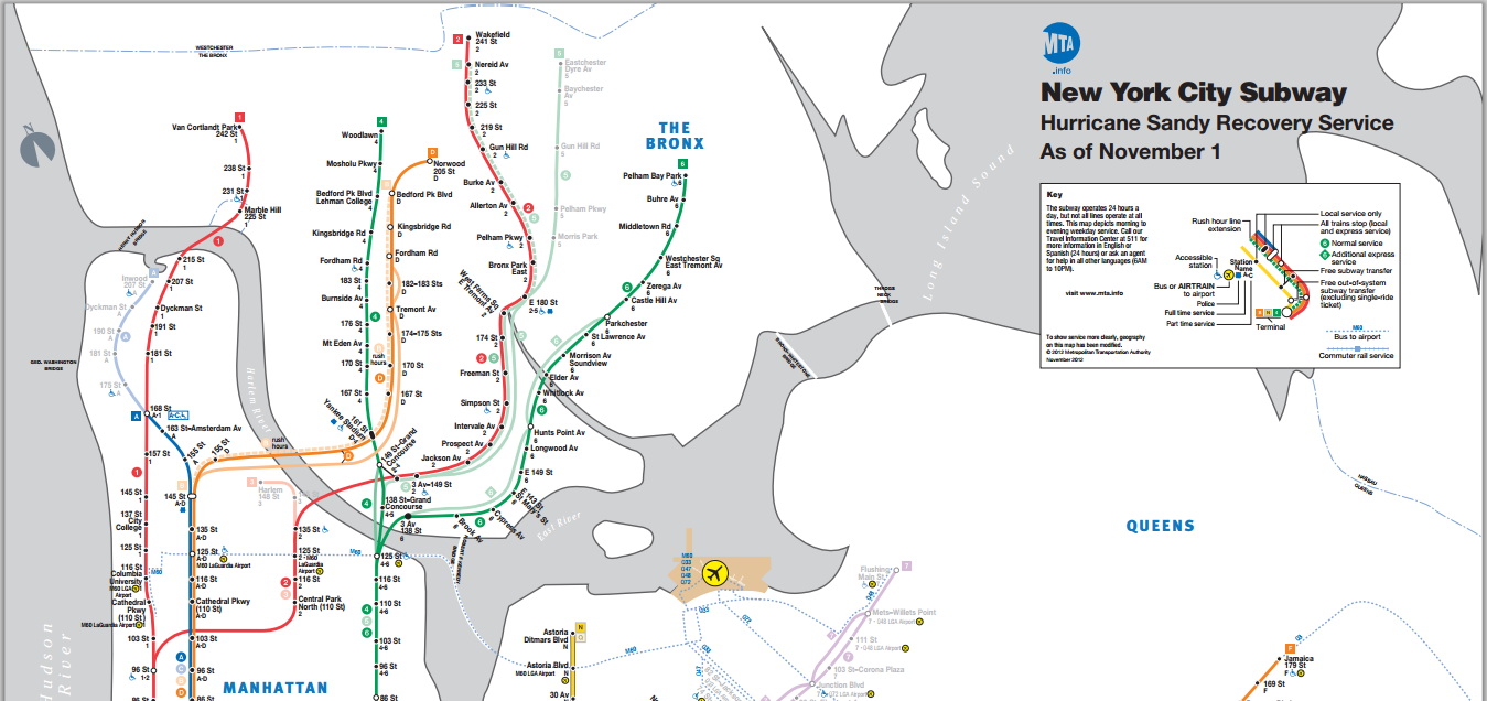NYC MTA New Subway Map as of November 1, 2012