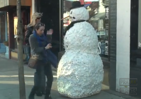 Funny Scary Snowman Prank YouTube