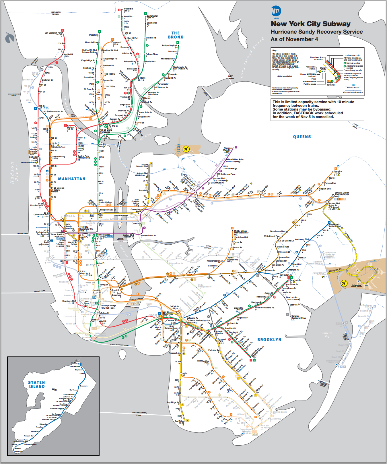 Updated NYC Subway Map November 4