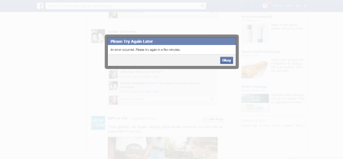Facebook Currently Doesn't Allow Likes or Status Updates