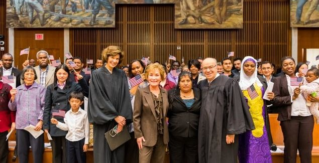 Judge Judy Helps Naturalize 149 U.S. Citizens in Brooklyn