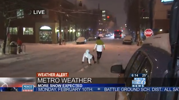 Portland Runner Chelsea falls on snow